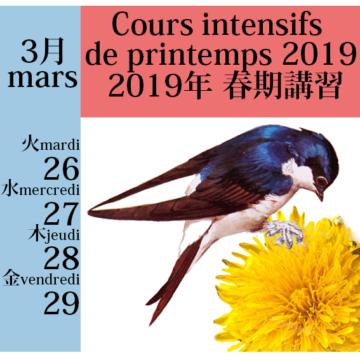 2019年 フランス語春季集中講座 cours intensifs de printemps 2019の画像